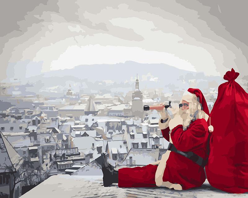 Картина по номерам Санта не дремлет 40х50 Yarik's (без коробки)