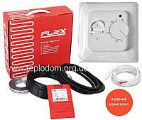Теплый пол Flex 17,5/0,5м²-0,6м²/87.5Вт(5м) тонкий греющий кабель под плитку и стяжку + терморегулятор RTC70