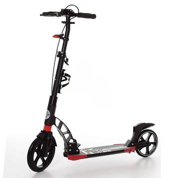 Самокат  двухколесный  взрослый, алюминиевый, колеса, свет, ручной тормоз, черный