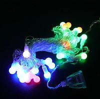Гирлянда разноцветная шарик 28LED 5м (флеш) Прозрачный провод RD-7101 | Новогодняя светодиодная гирлянда RGB, фото 1