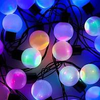 Гирлянда разноцветная шарик 40LED 5м (флеш) Черный провод RD-7102   Новогодняя светодиодная гирлянда RGB, фото 1