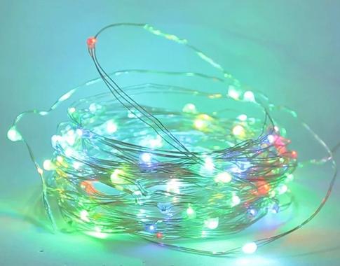 Гирлянда медная лампа разноцветная 100 LED серебристый провод 10м USB RD-7112 | Проволочная нить RGB