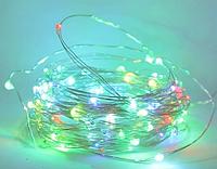 Гирлянда медная лампа разноцветная 100 LED серебристый провод 10м USB RD-7112 | Проволочная нить RGB, фото 1