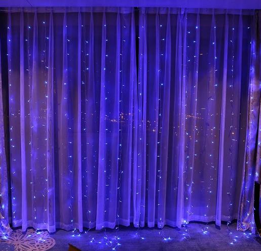 Гирлянда штора 120LED 1.5х1.5м RD-085 Синий | Новогодняя светодиодная уличная гирлянда