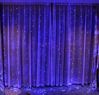 Гирлянда штора 120LED 1.5х1.5м RD-085 Синий | Новогодняя светодиодная уличная гирлянда, фото 1