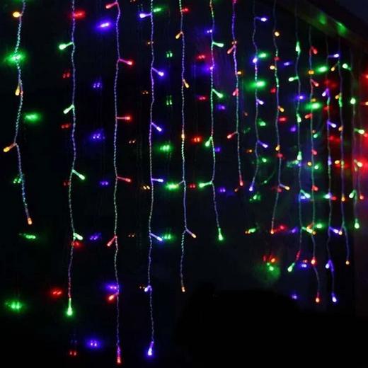 Гирлянда штора 144LED 2х2м RD-087 разноцветная | Новогодняя светодиодная уличная гирлянда