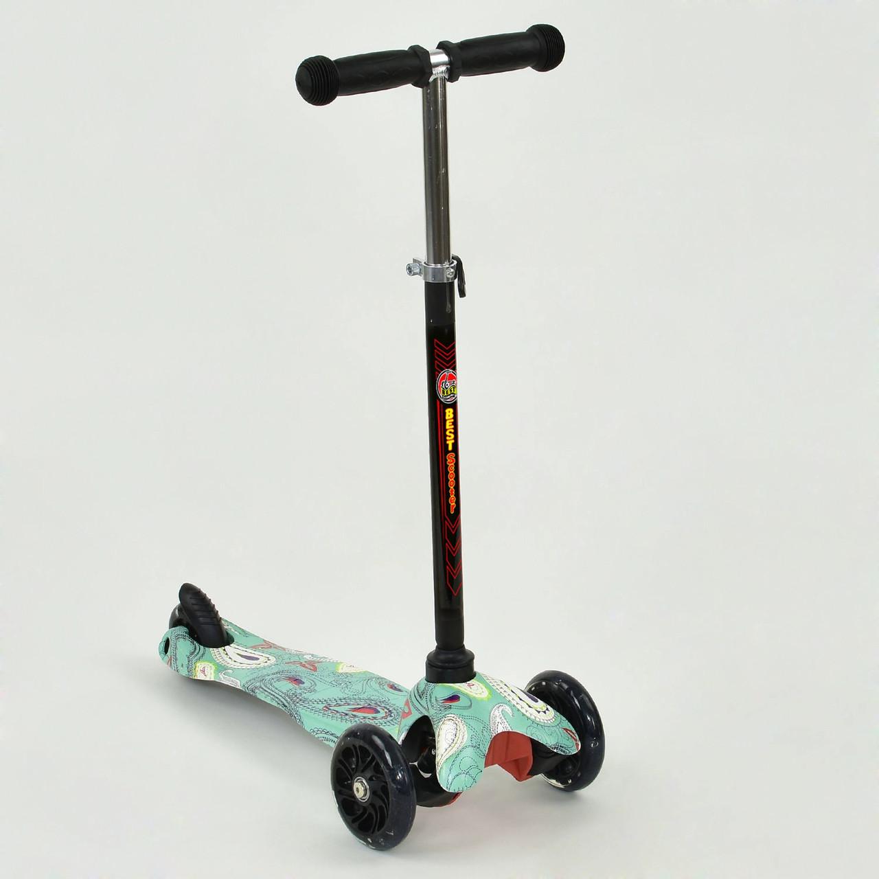 Самокат детский трехколесный  Самокат для девочки от 3 до 8 лет Легкий черный самокат с тормозом