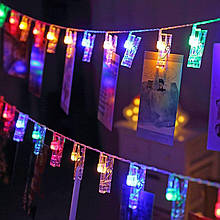 Гірлянда для фото святкова LED прищіпки 20 шт 3,5 см довжина 3,5 метра 32868