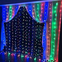 Гирлянда штора уличная 300LED 3х2м RD-095 разноцветная | Новогодняя светодиодная уличная гирлянда, фото 1