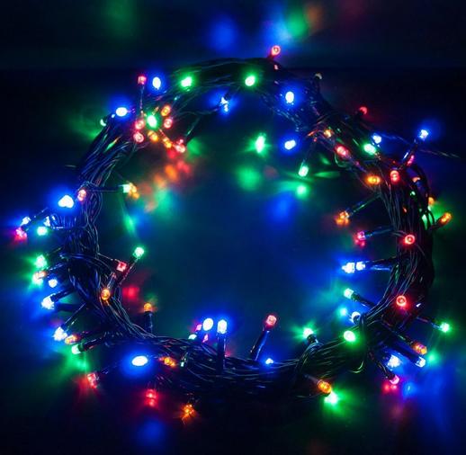 Гирлянда линза 200LED разноцветная RD-104 | Новогодняя уличная светодиодная гирлянда мультицветная