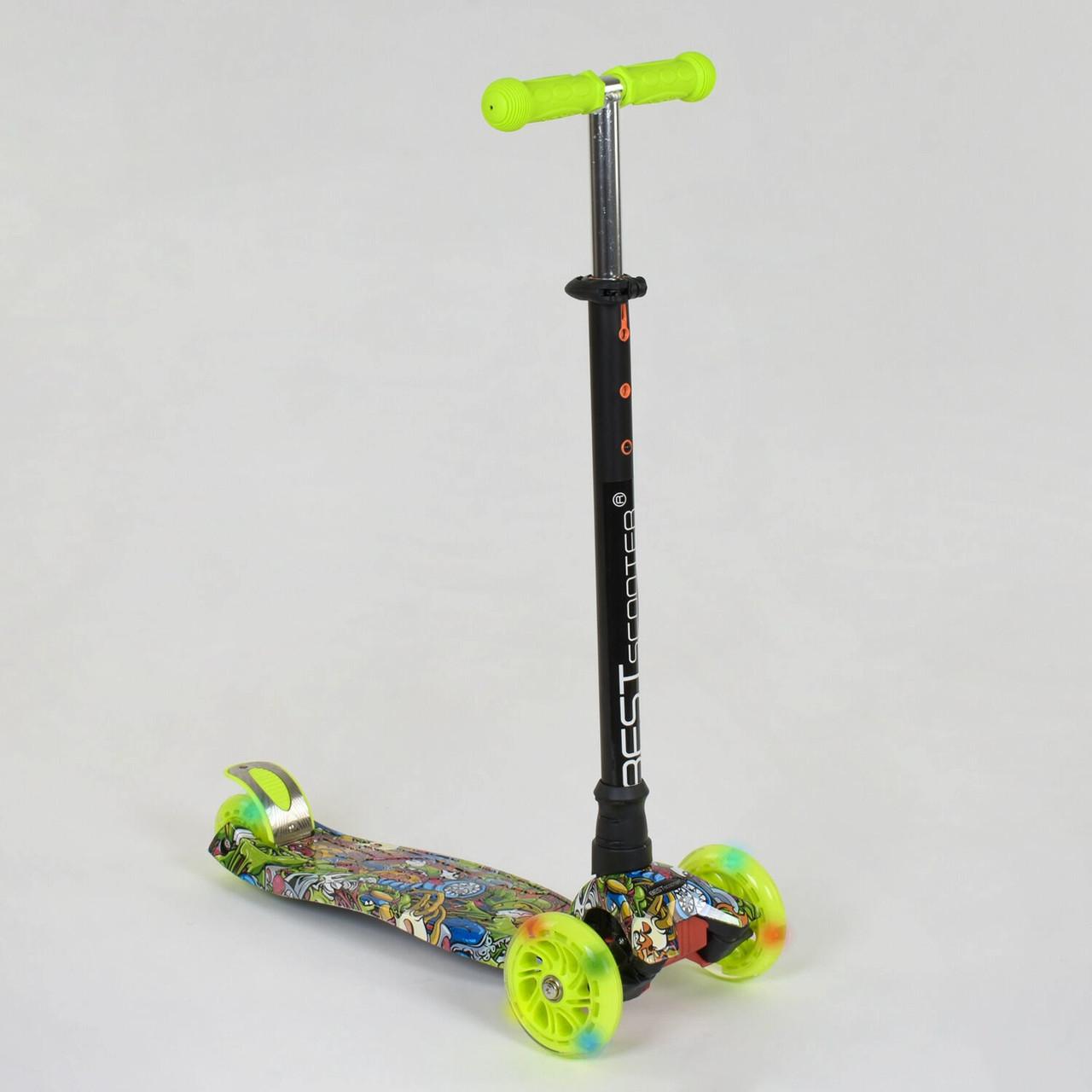 Самокат-кикборд Best Scooter Салатовый трехколесный самокат для ребенка от 2-х лет Очень устойчив