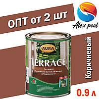 AURA Terrace пропитка с тунговым маслом для дерева Коричневая 0,9 л