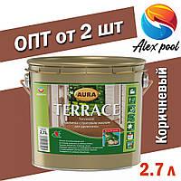 AURA Terrace пропитка с тунговым маслом для дерева Коричневая 2,7 л