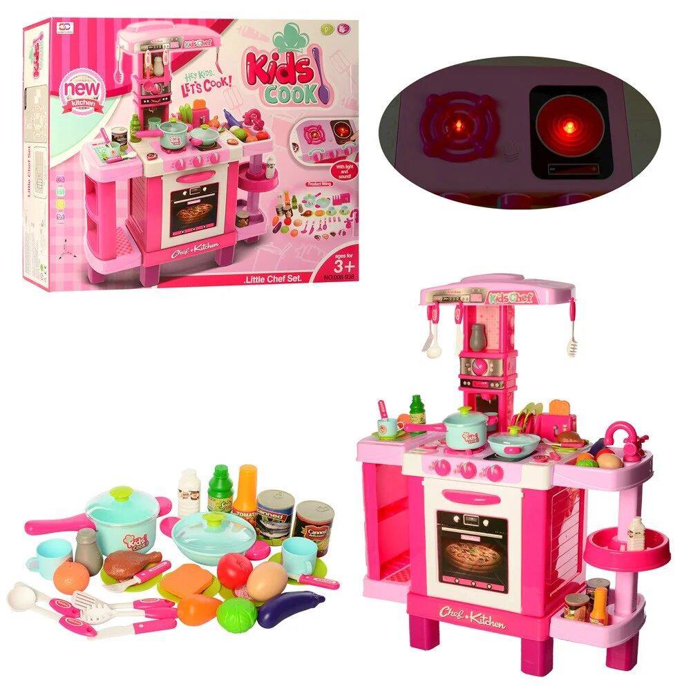 Детский игровой набор интерактивная кухня плита, духовка, звук, свет, посуда, продукты Детская кухня с посудой