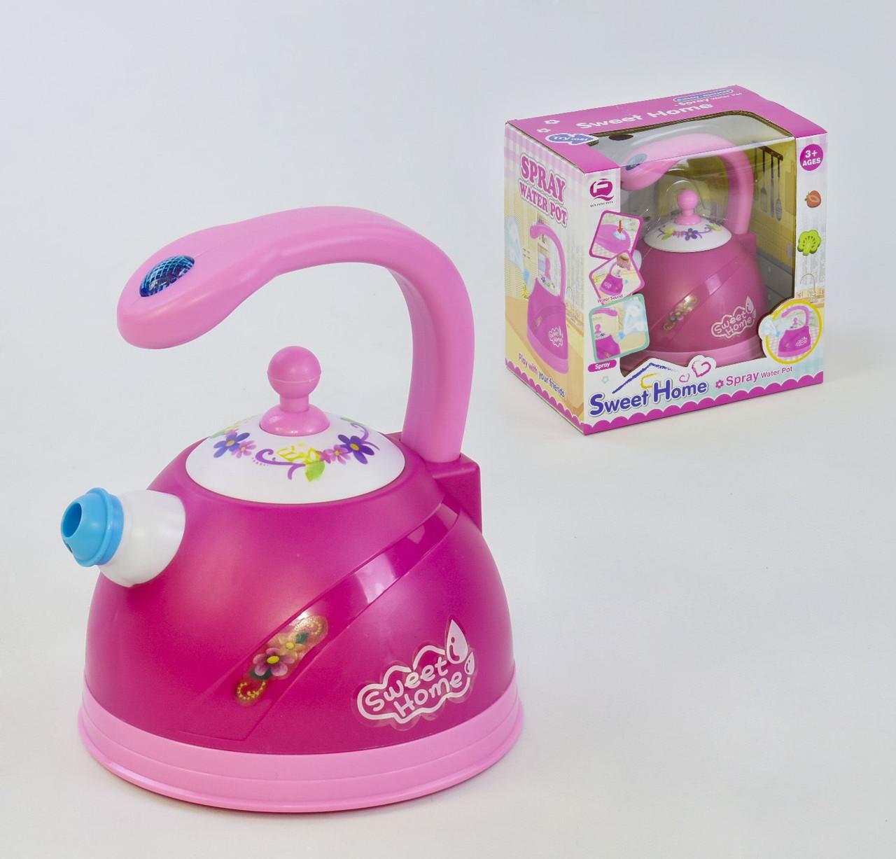 Чайник игровой проигрывает реалистичные звуки, выпускает пар, с подсветкой Детский чайник