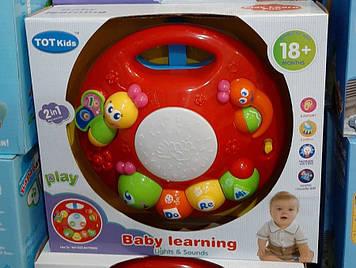 Развивающая игрушка барабан Музыкальная игрушка с креплением на детскую кровать Игровой центр музыкальный