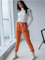 Трикотажные женские прогулочные штаны с карманами верх на резинке кирпичные S, L, XL, фото 1