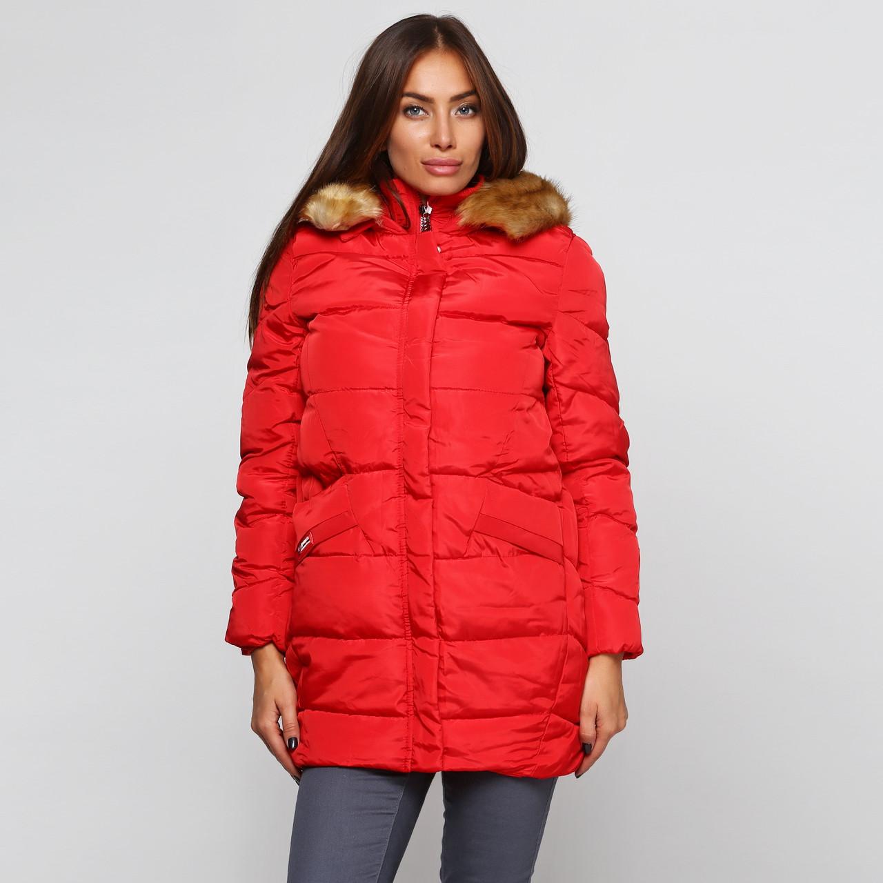 Куртка зимняя женская короткая, красный пуховик СС-7811-35