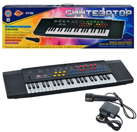 Детское пианино - синтезатор с микрофоном 44 клавиши Развивающая игрушка пианино Пианино для детей