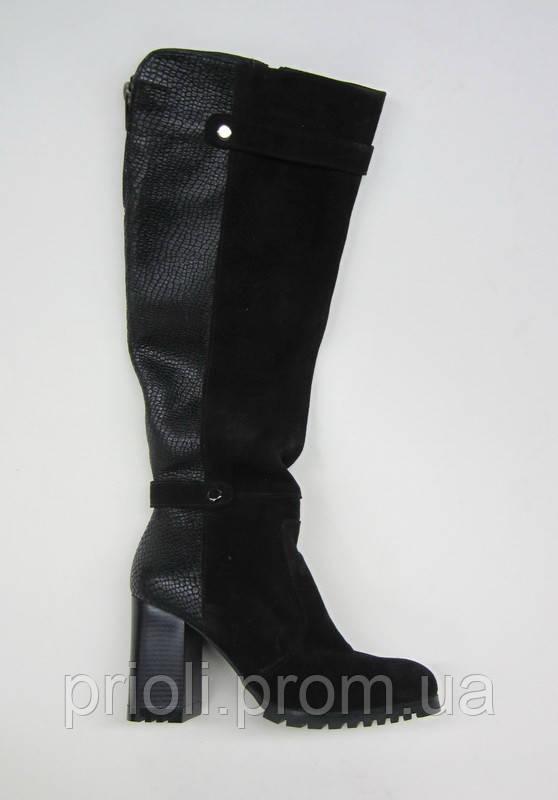 Распродажа 37 размер Зимние женские сапоги кожа рептилия черный замш