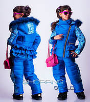 Зимний комплект на девочку с натуральным мехом  с 28 по 36 размер.