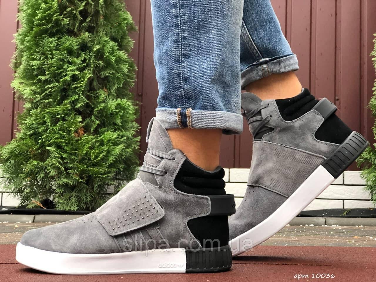 Мужские зимние кроссовки Adidas Tubular серые
