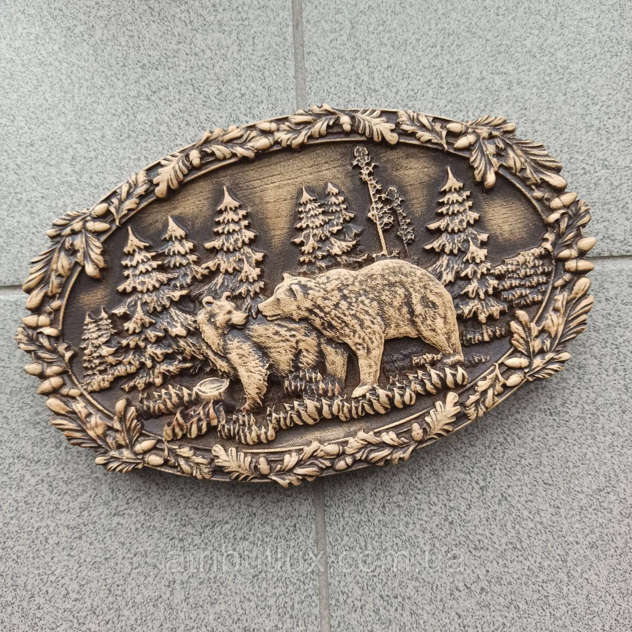 """Картина резная из дерева. """"Медведи"""""""