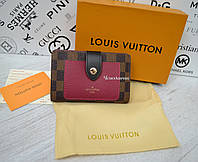 Женский кожаный кошелек Louis Vuitton Луи Виттон бордо клетка, брендовые кошельки, гаманець жіночий шкірний