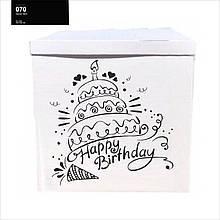 Оракал Happy Birthday торт з свічкою чорний на коробку розміром 70*70см