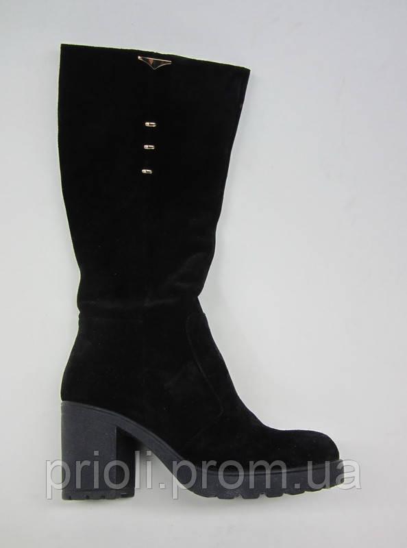 Распродажа 40 размер Зимние женские сапоги на каблуке черная замша