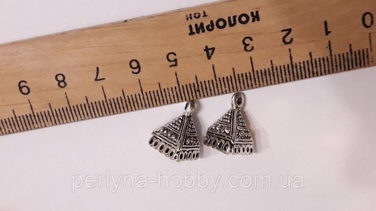 """Фурнітура на клей Наконечник """"Піраміда"""",  13мм. Колір античне срібло. Фурнитура для бижутерии. Пара"""