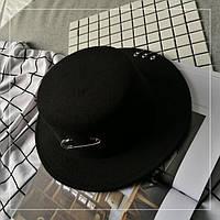 Фетровий капелюх жіночий канотьє в стилі Maison Michel з червоною стрічкою чорна, фото 1