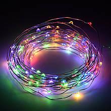 Святкова гірлянда LED крапля кольорова 10 метрів від 3 батарейок 36375