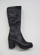 Распродажа 37 размер Зимние женские сапоги на каблуке черная кожа
