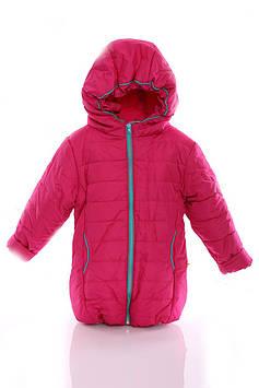 Куртка Евро для девочки малиновая с бирюзой