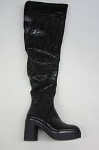 Распродажа 37 размер Зимние женские ботфорты на каблуке черная кожа