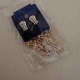Подовжені вечірні сережки під золото, висота 8 см., фото 3
