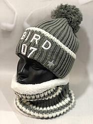 Женский набор шапка и шарф снуд зимний вязаный Много расцветок