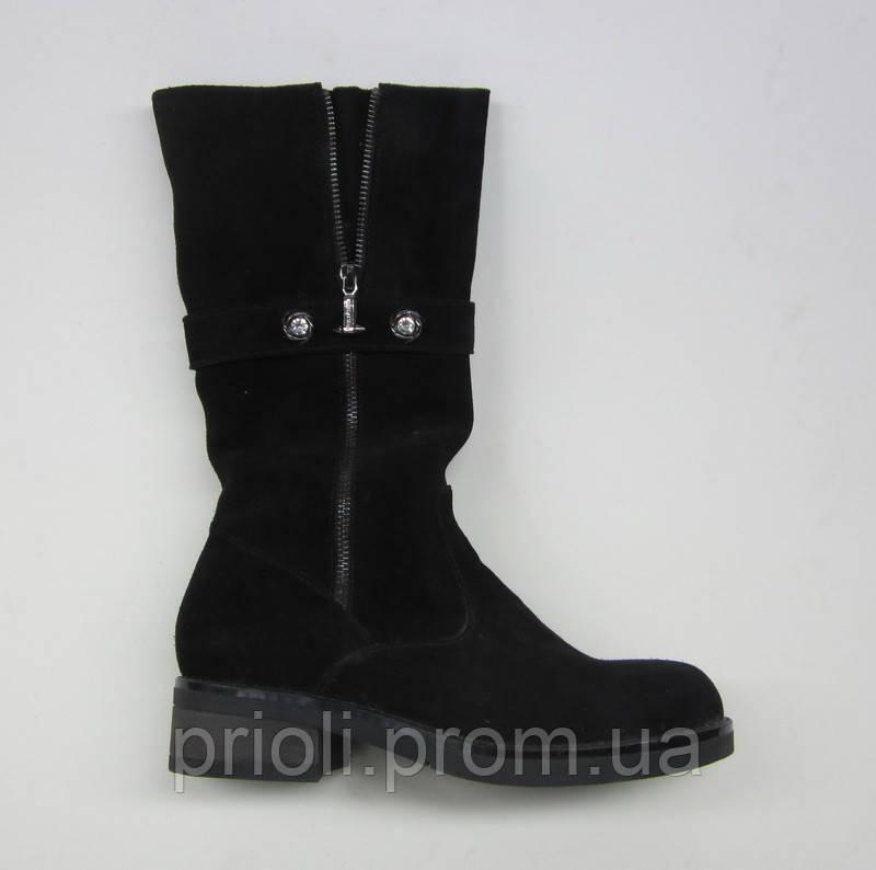 Распродажа 37 размер Зимние женские полусапоги на каблуке черный замш