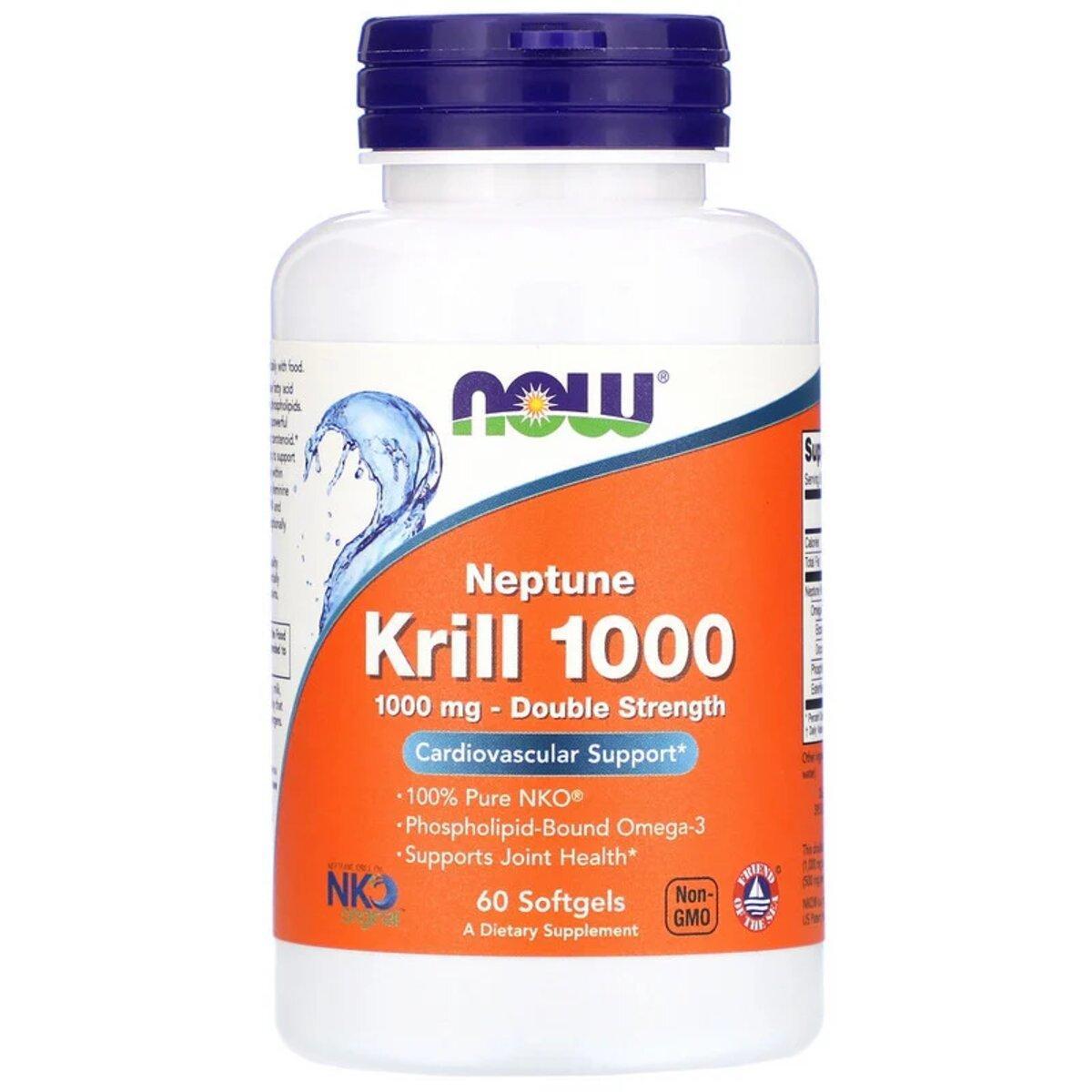 Крилевый Жир 1000мг, Neptune Krill 1000, Double Strength, Now Foods, 60 желатиновых капсул