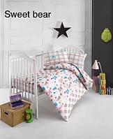 """ОРИГИНАЛ  Детский комплект постельного белья в кроватку ALTINBASAK """"Sweet bear"""" Турция"""