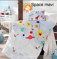 """ОРИГИНАЛ  Детский комплект постельного белья в кроватку ALTINBASAK """"Space mavi"""" Турция"""