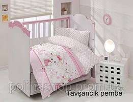 """ОРИГИНАЛ  Детский комплект постельного белья в кроватку ALTINBASAK """"Tavsancik pembe"""" Турция"""