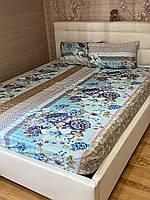 Комплект с простыней на резинке на матрас 180*200 см Турция Лилии голубые