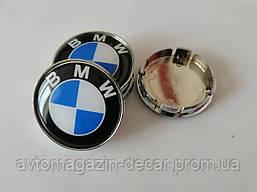 """Колпачки на титаны """"BMW"""" (60/55мм) хром/черн.синий гладкий пластик логотип """" ЛЮКС""""  (4шт)"""