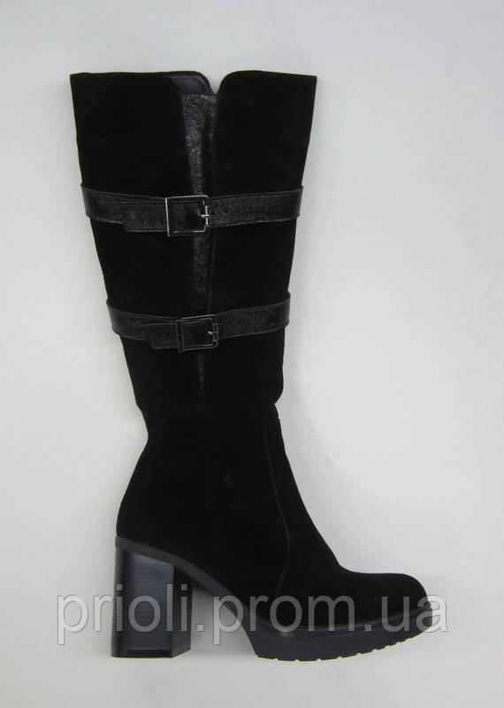 Распродажа 37 размер Зимние женские сапоги каблук две пряжки замша
