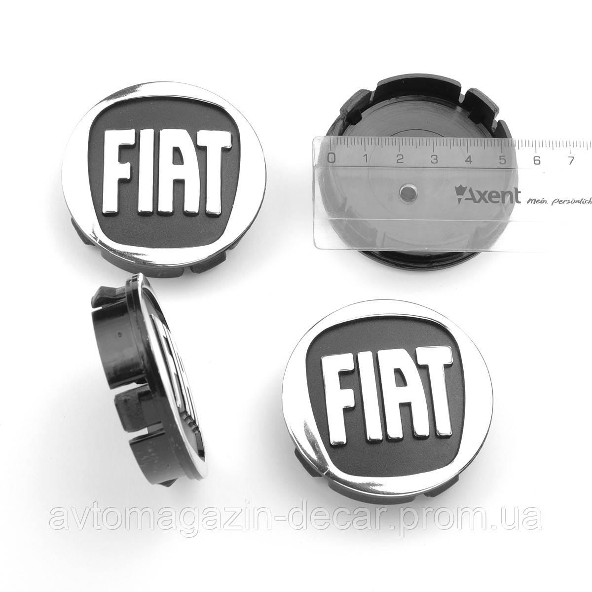"""Ковпачки на титани """"Fiat"""" (60/55мм) чорний/хром. пластик об'ємний логотип (4шт)"""