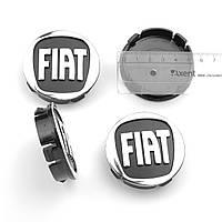 """Ковпачки на титани """"Fiat"""" (60/55мм) чорний/хром. пластик об'ємний логотип (4шт), фото 1"""