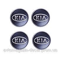 "Колпачки на титаны ""Kia"" (60/55мм) черн/хром. пластик объемный логотип (4шт)"