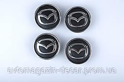 "Колпачки на титаны ""MAZDA"" (60/55мм) черн/хром. пластик объемный логотип (4шт)"